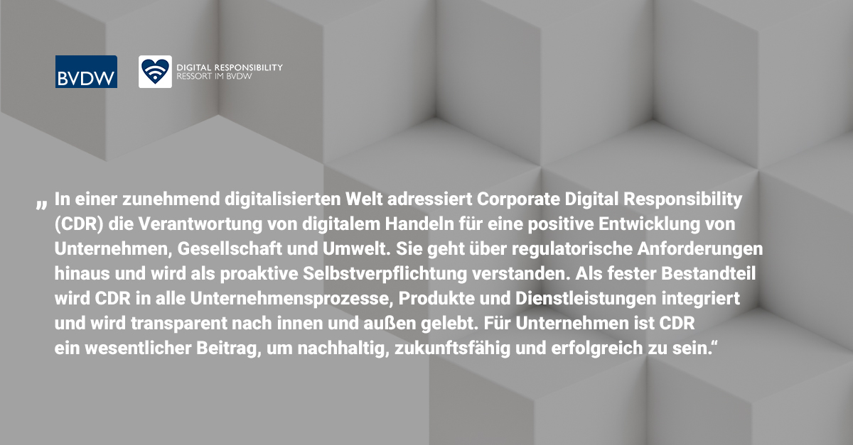 Definition von Corporate Digital Responsibility CDR