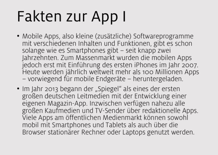Fakten zur App I