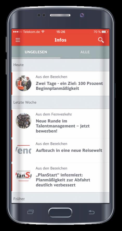 """Das MAZ der Deutschen Bahn in Form der """"echt:fix"""" als mobile App."""