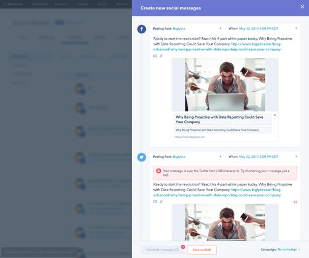 Screenshot HubSpot Social Media