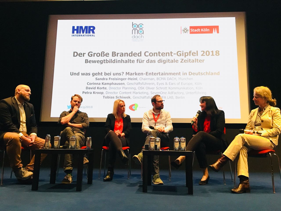 Branded Content Gipfel Podium, Sandra Freisinger-Heinl, Corinna Kamphausen, David Korte, Petra Kroop, Tobias Schiwek