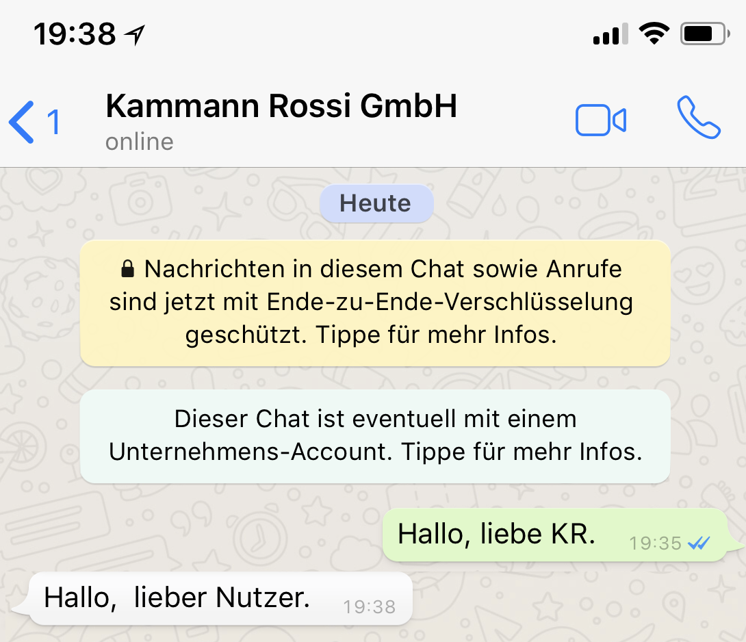 WhatsApp Business erster Chat
