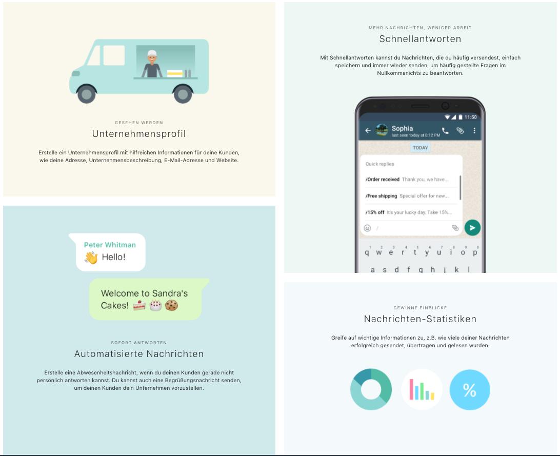 Whats App Business Features. Screenshot von der Website.