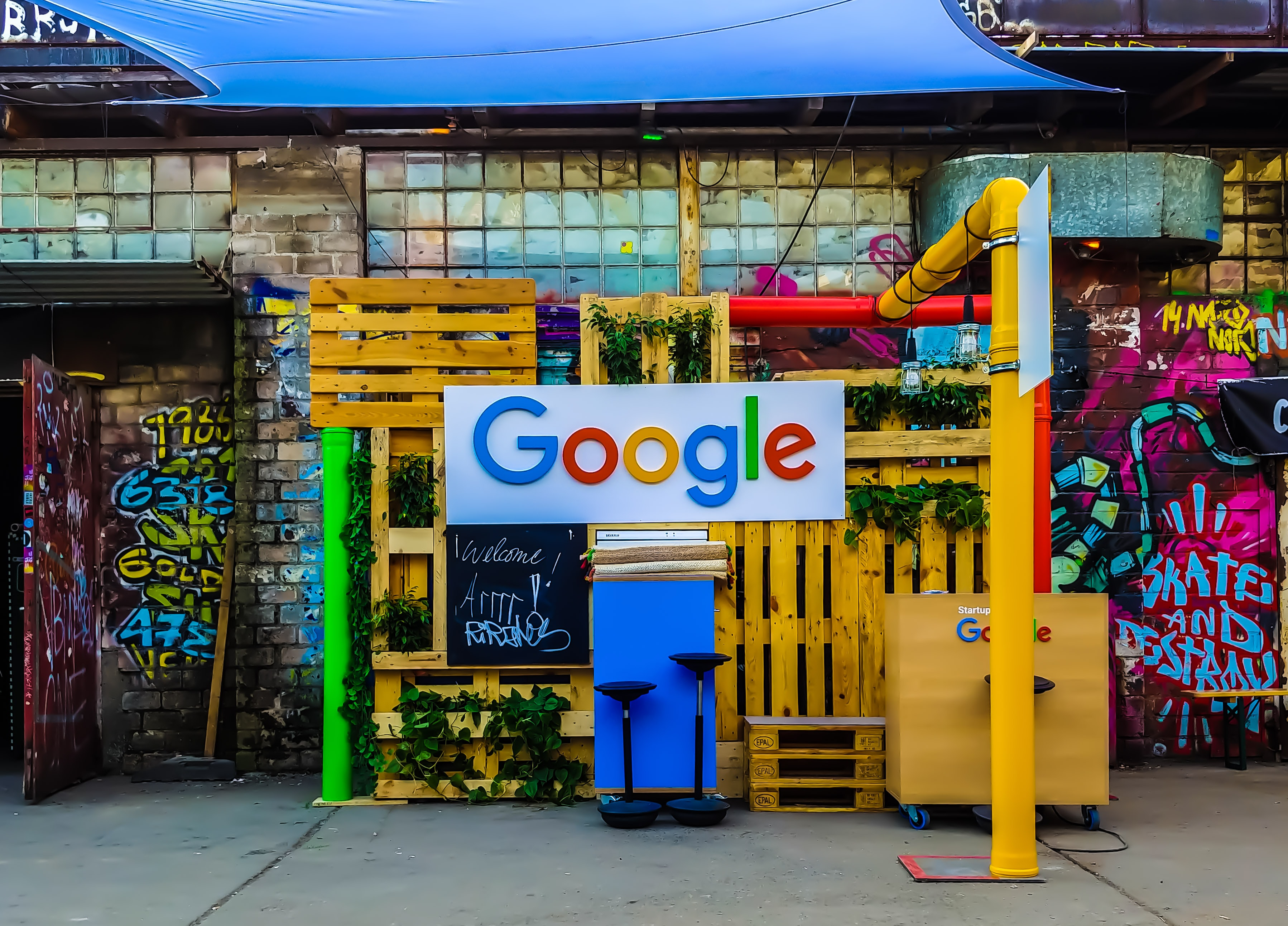 A booth with a Google sign