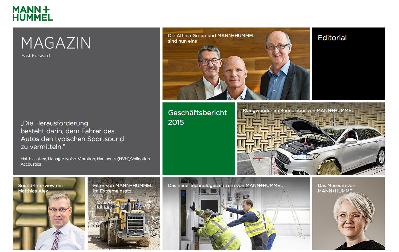 KR Best Practice: Geschäftsbericht, Print- und Web-Magazin für MANN+HUMMEL